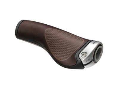 Ergon GP1 BioLeder brown (ezüst bilincs) - kerékpár markolat, fém bilinccsel