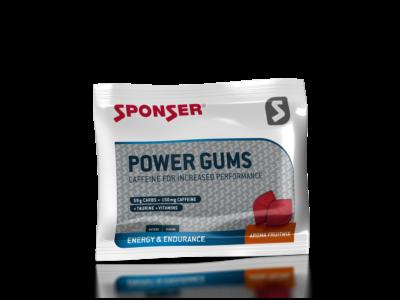 Sponser Power Gums gumicukor, koffeinnel 75g, Vegyes gyümölcs