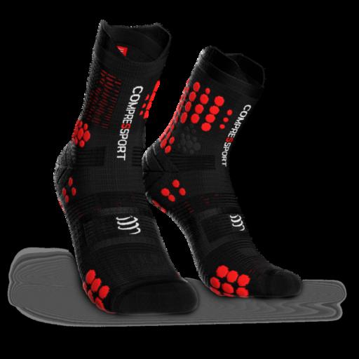 Compressport Pro Racing Socks v3.0 Trail fekete-piros terepfutó zokni T1