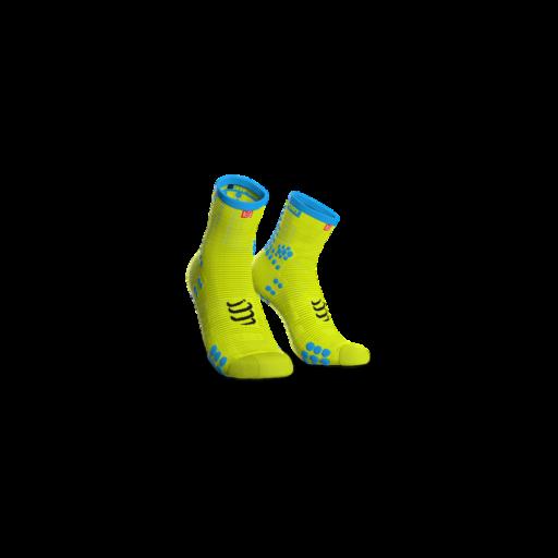 Compressport Pro Racing Socks v3.0 Run fluo sárga bokazokni T4