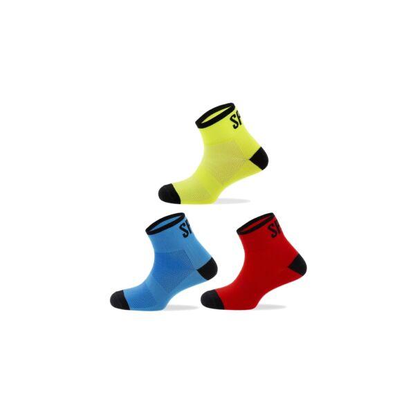 Spiuk kerékpáros zokni ANATOMIC KIDS, kék-piros-sárga